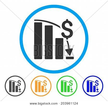 Financial Crisis icon. Vector illustration style is a flat iconic financial crisis gray rounded symbol inside light blue circle with black, green, blue, yellow color variants.