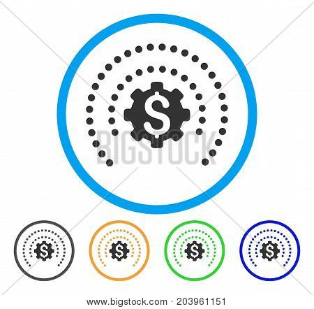 Financial Industry Protection Dotted Sphere icon. Vector illustration style is a flat iconic financial industry protection dotted sphere grey rounded symbol inside light blue circle with black, green,