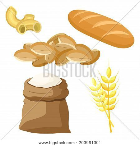 Thematic set of food products from wheat and flour. Vector illustration.