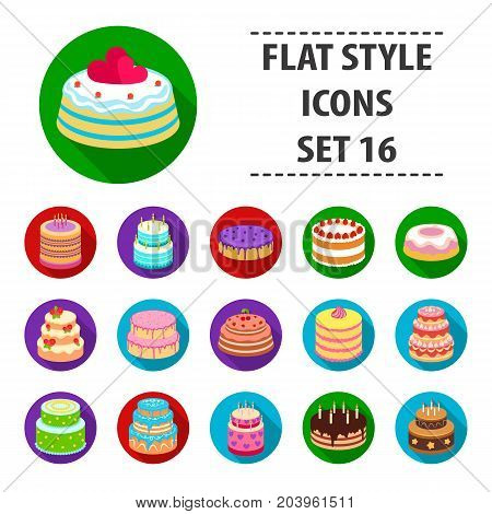 Cakes set icons in flat design. Big collection of cakes vector symbol stock illustration