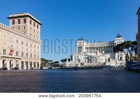 View of the Altare della Patria and the Piazza Venezia in Rome
