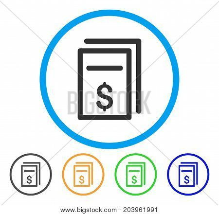 Price Page Copy icon. Vector illustration style is a flat iconic price page copy grey rounded symbol inside light blue circle with black, green, blue, yellow color variants.