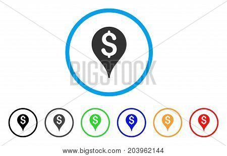 Bank Map Marker icon. Vector illustration style is a flat iconic bank map marker grey rounded symbol inside light blue circle with black, gray, green, blue, red, orange color variants.