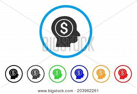 Banker icon. Vector illustration style is a flat iconic banker grey rounded symbol inside light blue circle with black, gray, green, blue, red, orange color versions.
