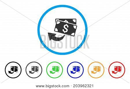 Cashback icon. Vector illustration style is a flat iconic cashback gray rounded symbol inside light blue circle with black, gray, green, blue, red, orange color versions.