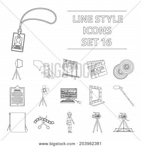 A movie camera, a floodlight, a chromakey and other equipment for the cinema.Making movie set collection icons in outline style vector symbol stock illustration .