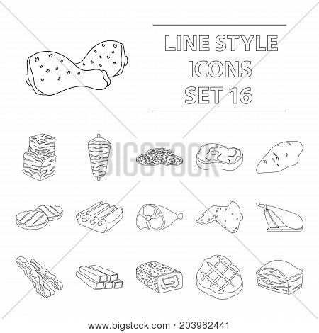 Meats set icons in outline style. Big collection of meats vector symbol stock