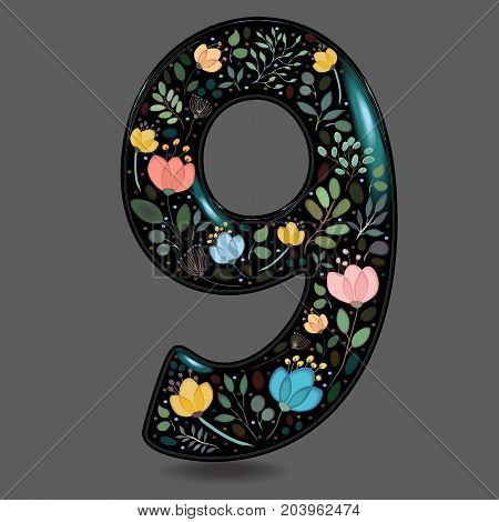 Number Nine with Floral Decor. Black glared numeral. Colorful graceful flowers plants and blurs with watercolor effect. Gray background. Illustration