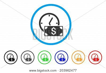 Credit icon. Vector illustration style is a flat iconic credit gray rounded symbol inside light blue circle with black, gray, green, blue, red, orange color variants.
