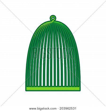 Bird cage sign. Vector. Lemon scribble icon on white background. Isolated