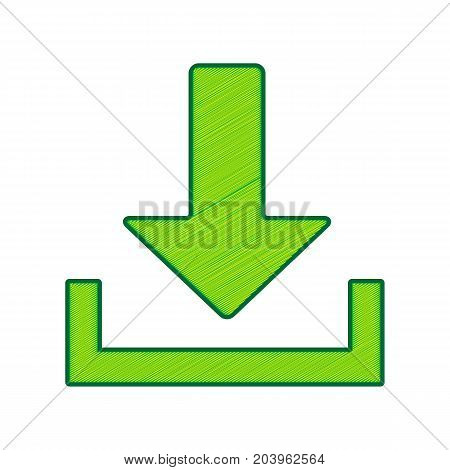 Download sign illustration. Vector. Lemon scribble icon on white background. Isolated