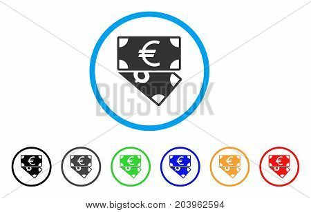 Euro And Dollar Banknotes icon. Vector illustration style is a flat iconic euro and dollar banknotes grey rounded symbol inside light blue circle with black, gray, green, blue, red,