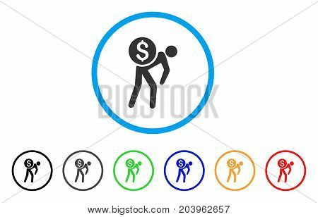 Financial Courier icon. Vector illustration style is a flat iconic financial courier grey rounded symbol inside light blue circle with black, gray, green, blue, red, orange color variants.