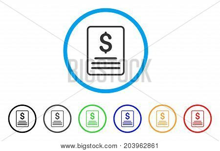 Invoice icon. Vector illustration style is a flat iconic invoice gray rounded symbol inside light blue circle with black, gray, green, blue, red, orange color variants.