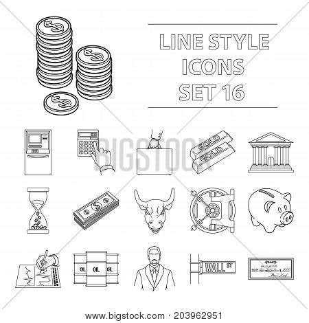 Money and finance set icons in outline design. Big collection of money and finance vector symbol stock illustration