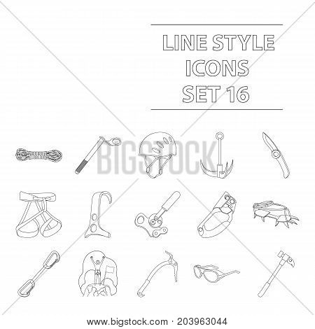 Ice ax, conquered top, mountains in the clouds and other equipment for mountaineering.Mountaineering set collection icons in outline style vector symbol stock illustration .