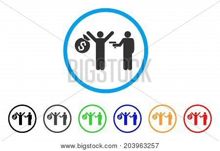 Thief Arrest icon. Vector illustration style is a flat iconic thief arrest grey rounded symbol inside light blue circle with black, gray, green, blue, red, orange color versions.