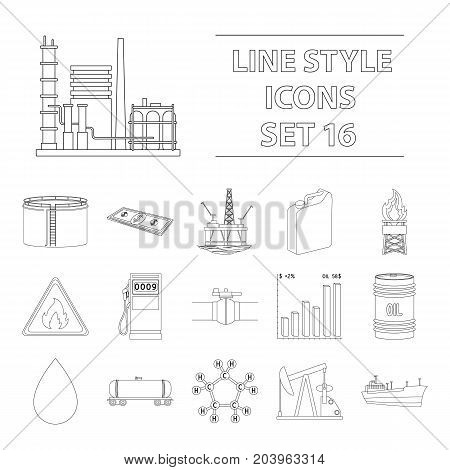 Oil rig, pump and other equipment for oil recovery, processing and storage.Oil set collection icons in outline style vector symbol stock illustration .