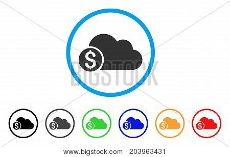 Banking Cloud icon. Vector illustration style is a flat iconic banking cloud gray rounded symbol inside light blue circle with black, gray, green, blue, red, orange color variants.