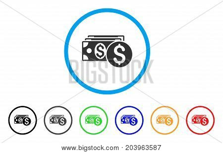 Dollar Cash icon. Vector illustration style is a flat iconic dollar cash gray rounded symbol inside light blue circle with black, gray, green, blue, red, orange color additional versions.