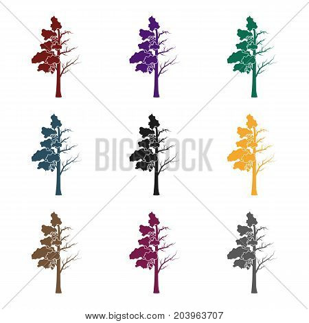Tree half full of green leaf and half dry icon in black design isolated on white background. Bio and ecology symbol stock vector illustration.