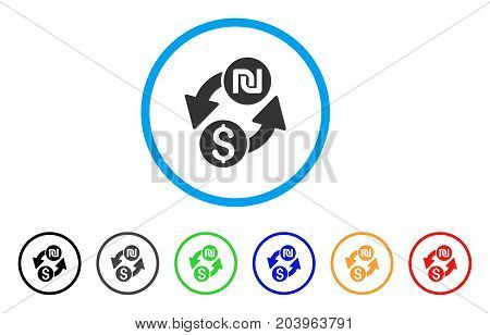 Dollar Shekel Exchange icon. Vector illustration style is a flat iconic dollar shekel exchange grey rounded symbol inside light blue circle with black, gray, green, blue, red, orange color variants.