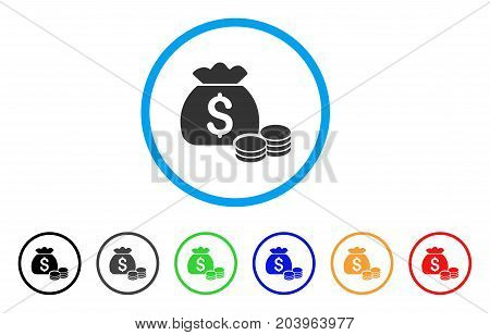 Money Bag icon. Vector illustration style is a flat iconic money bag grey rounded symbol inside light blue circle with black, gray, green, blue, red, orange color variants.