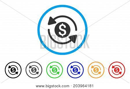 Money Turnover icon. Vector illustration style is a flat iconic money turnover grey rounded symbol inside light blue circle with black, gray, green, blue, red, orange color additional versions.