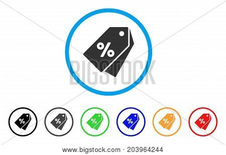 Percent Discount Tags icon. Vector illustration style is a flat iconic percent discount tags gray rounded symbol inside light blue circle with black, gray, green, blue, red, orange color variants.