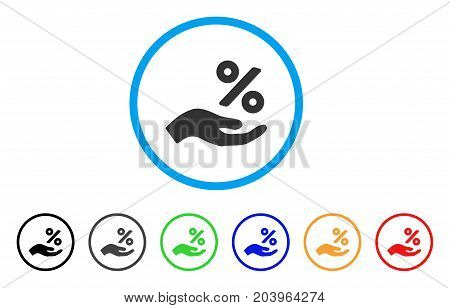 Percent Offer Hand icon. Vector illustration style is a flat iconic percent offer hand gray rounded symbol inside light blue circle with black, gray, green, blue, red, orange color versions.
