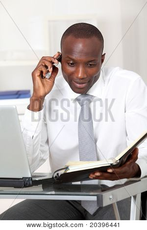 Businessman talking on the phone in office
