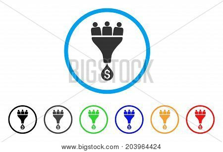 Sales Funnel icon. Vector illustration style is a flat iconic sales funnel grey rounded symbol inside light blue circle with black, gray, green, blue, red, orange color additional versions.