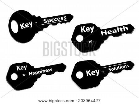 silhouette keys with words success happiness solutions and health