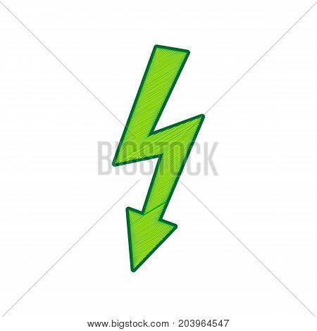 High voltage danger sign. Vector. Lemon scribble icon on white background. Isolated