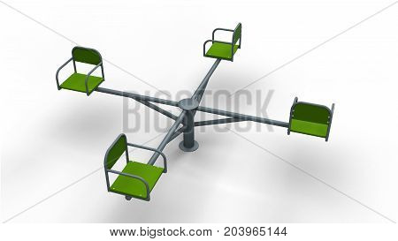 Children Carousel isolated on a white background 3d illustration render
