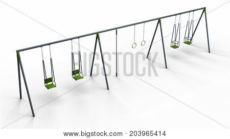 double swing with rope and rings isolated on white background 3d illustration render