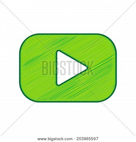Play button sign. Vector. Lemon scribble icon on white background. Isolated