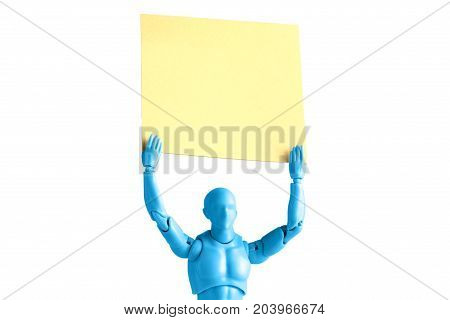 Blue male figurine extreme closeup holding up empty note isolated on white with copy space
