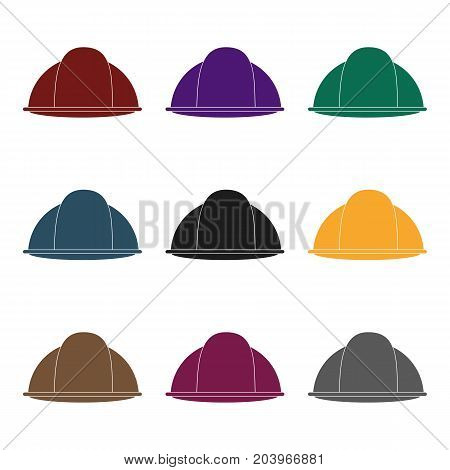 Construction helmet icon in black style isolated on white background. Build and repair symbol vector illustration.
