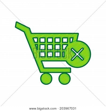 Shopping Cart with delete sign. Vector. Lemon scribble icon on white background. Isolated