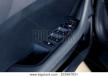 Black car dashboard auto background with space for text