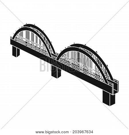 Arched bridge construction. Bridge single icon in black style vector symbol stock illustration .