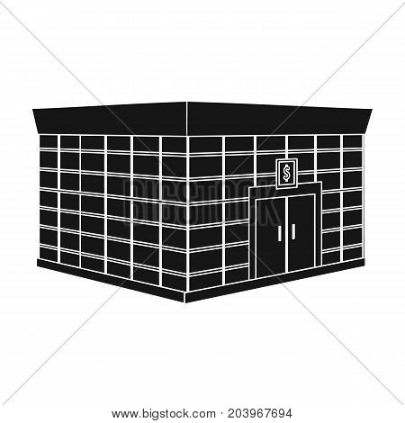 Office premises of the bank. Central bank single icon in black style vector symbol stock illustration .