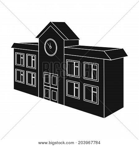 Architectural building of school, college. College single icon in black style vector symbol stock illustration .