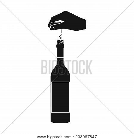Opening the bottle with a corkscrew. Manipulation with a corkscrew single icon in black style vector symbol stock illustration .