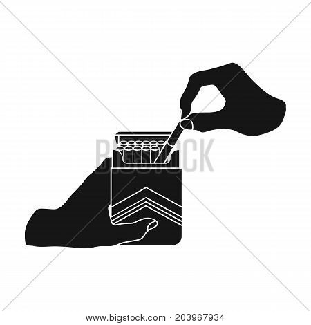 Extraction of the cigarette from the pack. A pack of cigarettes single icon in black style vector symbol stock illustration .
