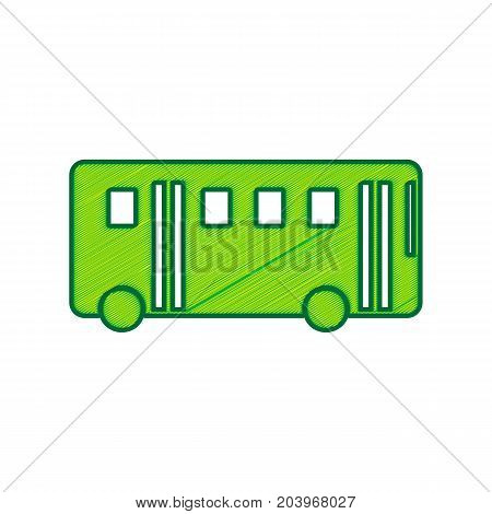 Bus simple sign. Vector. Lemon scribble icon on white background. Isolated