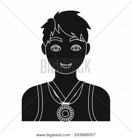 Athlete awarded a gold medal. Sport and reward single icon in black style vector symbol stock illustration .
