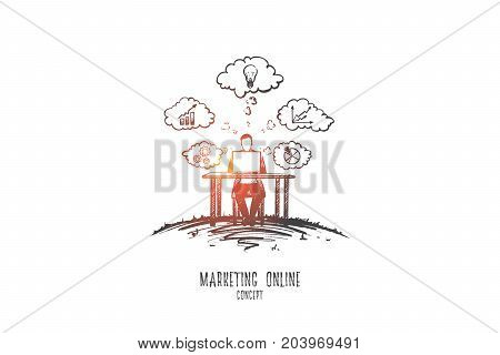 Marketing online concept. Hand drawn advertising manager using laptop computer. Businessman doing online communications and analytics isolated vector illustration.