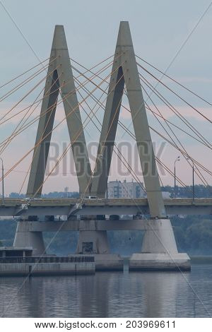 Millenium bridge in Kazan - view on sunset, telephoto shot
